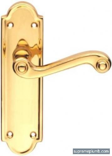 Queen Anne Lever Latch Polished Brass