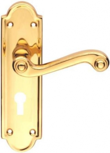 Queen Anne Lever Lock Polished Brass