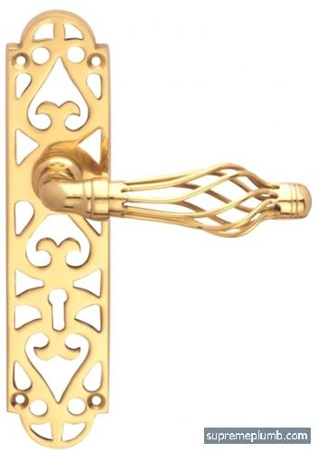 Jali Fretwork Lever Lock - Polished Brass - DISCONTINUED