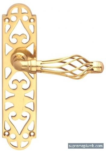 Jali Fretwork Lever Latch - Polished Brass - DISCONTINUED