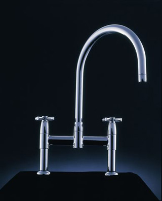IO 2-3 Hole Sink Mixer With Crosshead Handles Pewter C14296