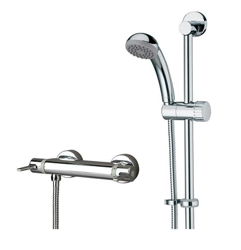 Bristan Thermostatic Exposed Bar Shower with Adjustable Riser Kit, Single Function Handset and Fast Fit Connections - DUL2 SHXARFF C - DUL2SHXARFFC