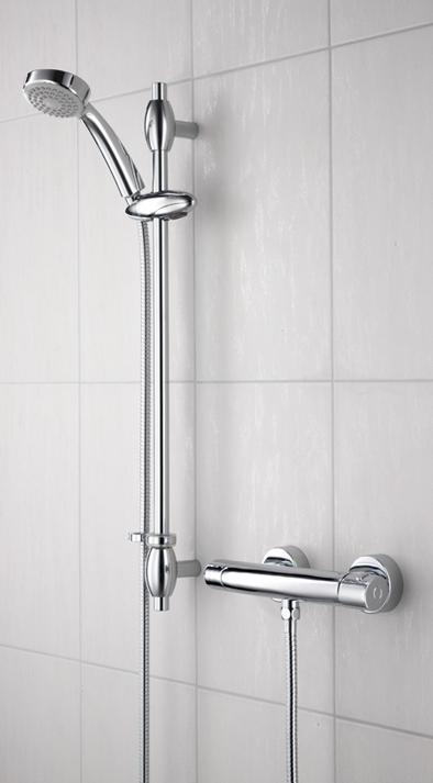 Bristan Oval Thermostatic Surface Mounted Bar Shower Valve with Adjustable Riser and Fast Fix Connections - OL SHXSMFF C - OLSHXSMFFC