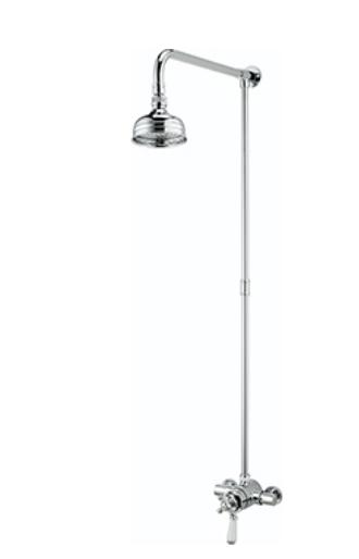 Bristan Regency Thermostatic Exposed Dual Control Mini Valve Shower with Rigid Riser - R2 SHXRR C - R2SHXRRC