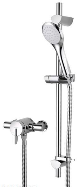 Bristan Sonqiue2 Thermostatic Surface Mounted Shower Valve with Adjustable Riser Chrome - SOQ2 SHXAR C - SOQ2SHXARC