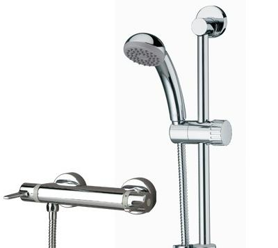 Bristan Design Utility Lever Bar Shower with Adjustable Riser & Fast Fix Connections Chrome Plated - DUL SHXARFF C - DULSHXARFFC