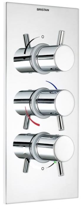 Bristan Prism 3 Control Thermostatic Recessed Valve with 2 Stopcocks Portrait - PM SHC3STPP C - PMSHC3STPPC