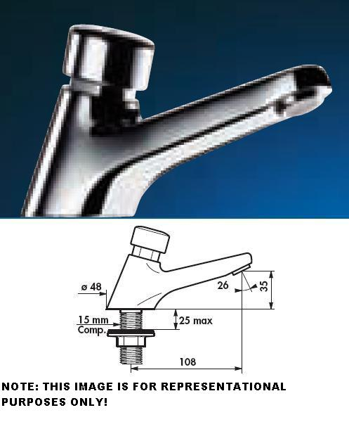 TEMPOSTOP Basin Tap 15mm Compression 15 (seconds) With Reinforced Fixing - DD 745300
