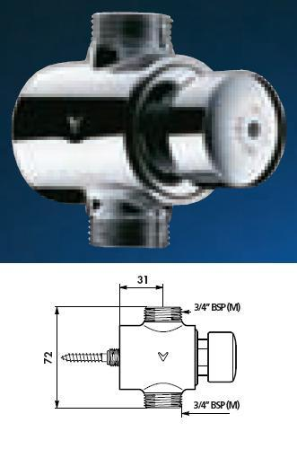 "TEMPOSTOP Siphon Action Urinal Valve Straight 3/4"" BSP(MM) 7 (seconds) - DD 779100"