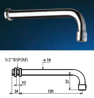 Fixed Spout L 120 For Panel 10mm Aerator - DD 941922