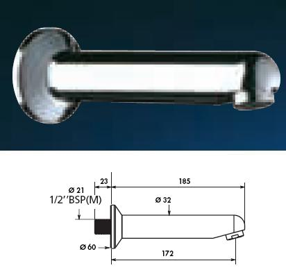 Fixed Wall Spout L 185 With Wall Plate - DD 947185