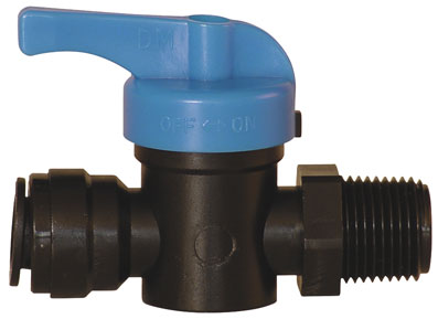 "6mm x 1/4"" BSPT MALE PUSH-IN PLASTIC BALL VALVE - 14340613"
