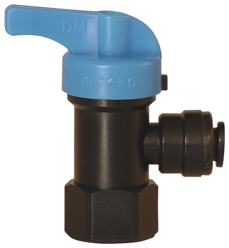"12mm x 1/2"" BSPT FEMALE PUSH-IN PLASTIC BALL VALVE - 14351221"