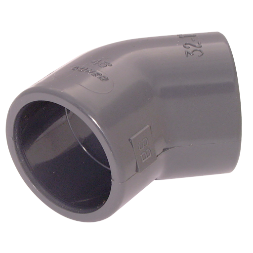 "1.1/2"" ID Solvent Elbow 45° ABS Light Grey - EY53-112-ABS"
