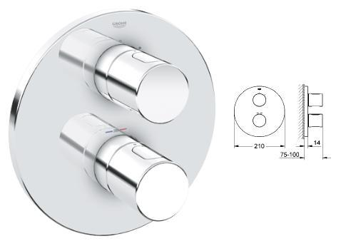 Grohe - Grohtherm G3000 Thermostatic Bath/Shower Trim - 19 468 000 - 19468