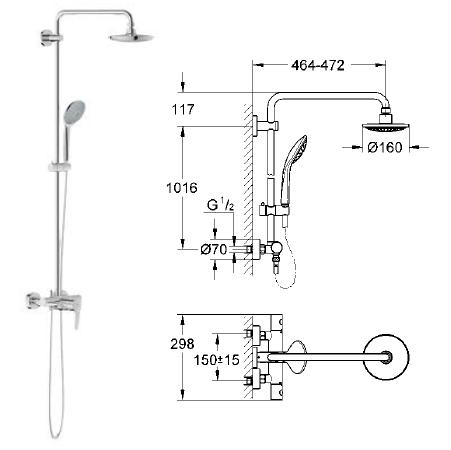 grohe grohtherm 1000 cosmopolitan thermostatic shower. Black Bedroom Furniture Sets. Home Design Ideas