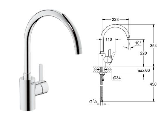grohe eurosmart cosmopolitan single lever sink mixer. Black Bedroom Furniture Sets. Home Design Ideas
