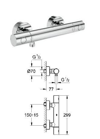 grohe grohtherm 1000 cosmopolitan thermostatic bath shower mixer. grohe - grohtherm 1000 cosmopolitan thermostatic shower mixer 1/2\ bath