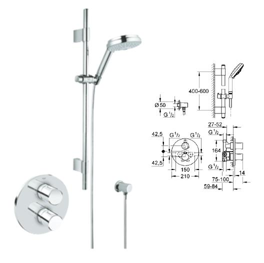 Grohe - Grohmaster G3000 Cosmopolitan Thermostatic Rainshower Set BIV - 34 278 000 - 34278