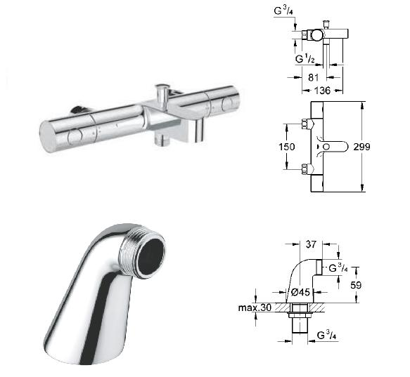 grohe 1000 thermostatic bath shower mixer. grohe - grohtherm 1000 cosmopolitan thermostatic bath/shower mixer 1/2\ bath shower