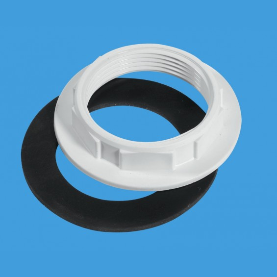 "1½"" (1.1/2"") Backnut x 85mm White Plastic Flange with Rubber Washer - BN3"