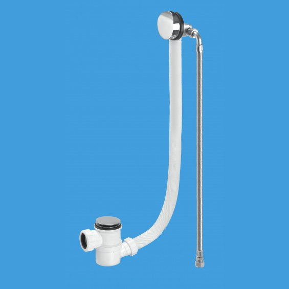 Chrome Plated Brass Bath Filler and Overflow (Top Access Clicker) - Extended Overflow Tube - HC2650UK-FIL-1M