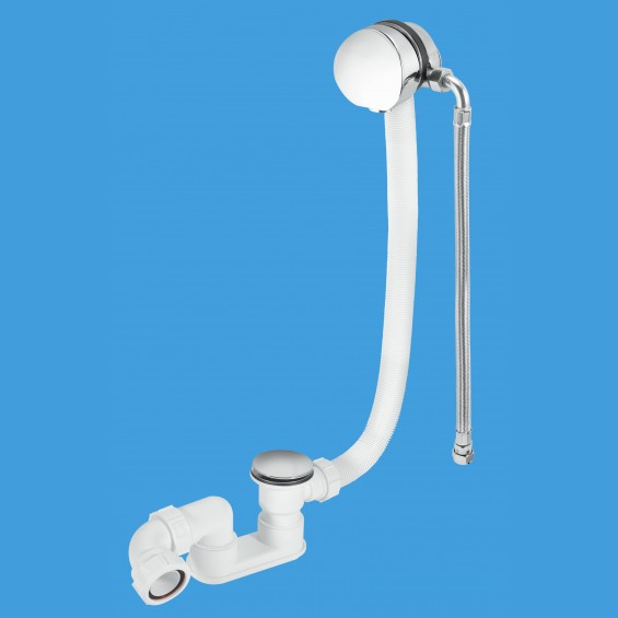 Chrome Plated Brass Bath Filler and Overflow (Clicker) - Extended Overflow Tube - HCN3365UK-1M