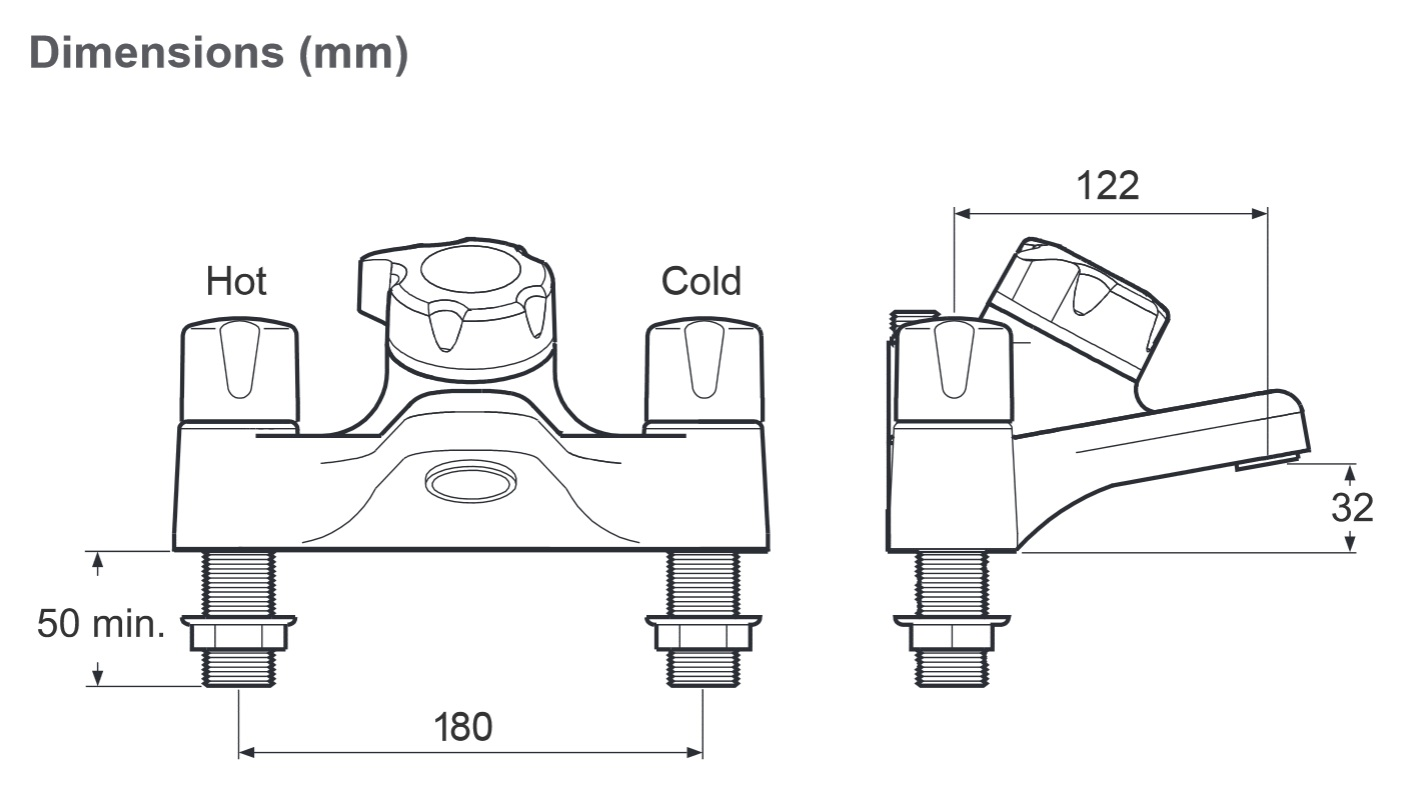 Meynell Bonus Thermostatic Bath Shower Mixer Pebs0026 1p
