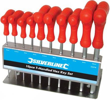 Silverline - 10PCE T-HANDLED HEX KEY SET - 323710