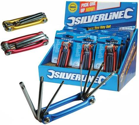 Silverline - DISPLAY BOX OF 12 FOLDING HEX KEY SET - 658892