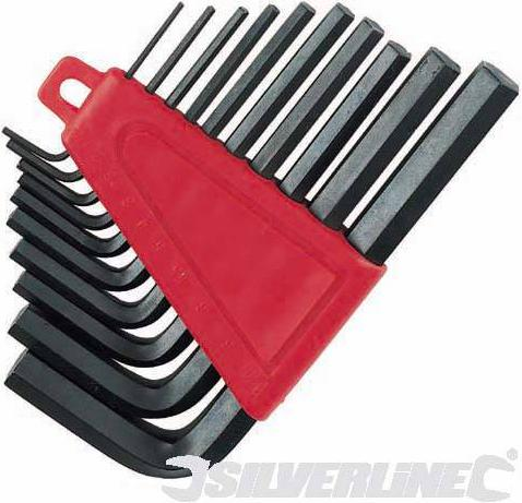 Silverline - 10PCE IMPERIAL HEX KEYS STORAGE CLIP SET - HK19