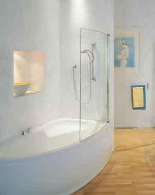 Loire Curved Corner Bath Screen White K196