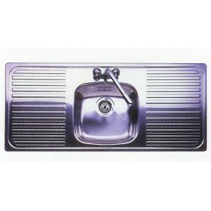 Double Bowl Ceramic Sink With Drainer : Leisure Sink Linear Single Bowl Double Drainer Sink - G72978
