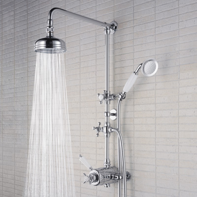 Bristan 1901 Thermostatic Surface Mounted Shower with Rigid Riser & Divertor to Shower Handset - N SHXDIV C - NSHXDIVC