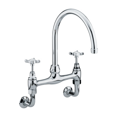 Bristan 1901 Wall Mounted Bridge Sink Mixer Chrome Plated - N WMDSM C - NWMDSMC