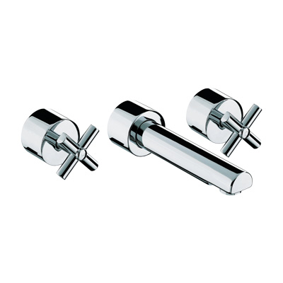 Bristan Quadrant Three Hole Wall Mounted Basin Mixer - QT 3HWMBAS C - QT3HWMBASC