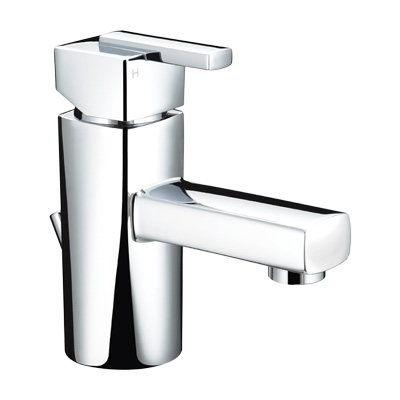 Bristan Qube Mini Basin Mixer with Pop-Up Waste - QU SMBAS C - QUSMBASC