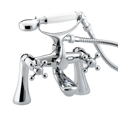 Bristan Regency Bath Shower Mixer With Tall Pillars Chrome Plated - R TBSM C - RTBSMC