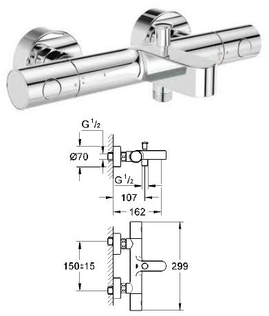 Gut bekannt Grohe - Grohtherm 1000 Cosmopolitan Thermostatic Bath/Shower Mixer XK19